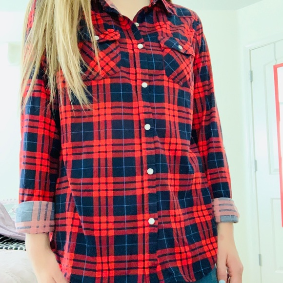 Tops - Red and navy blue flannel